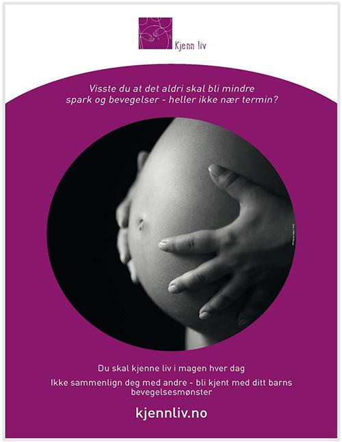 Plakat med bilde av gravid mage og tekst om Kjenn liv